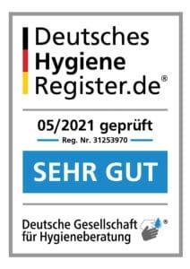 Aufkleber des Deutsches Hygiene Register für das Physiotherapie Praxis Team Anja Schütte